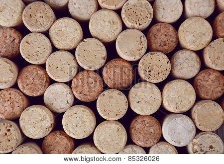 Heap of wine corks, macro view