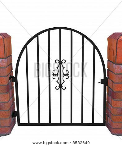 Gate With Brick Pillars