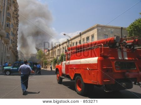 poster of Fire Truck Rushing To Fire In The City Center