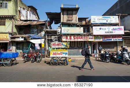Ahmedabad, India - December 28, 2014: Indian People On Street Of The Ahmedabad
