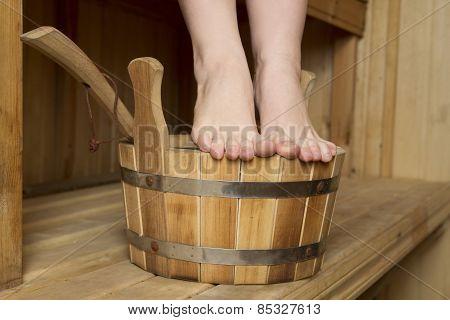 Beautiful Female Feet In Sauna, Bath Accessories