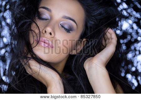 Close portrait of attractive brunette