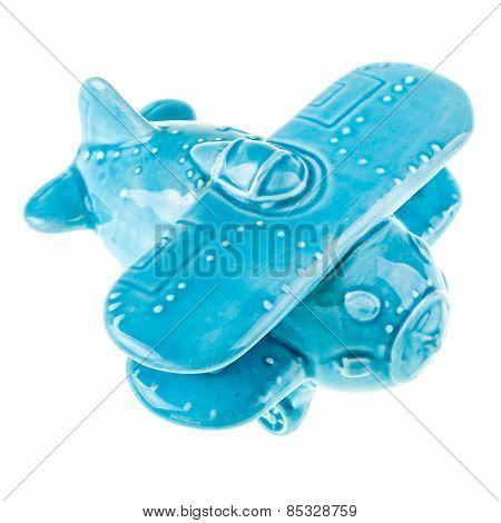Ceramic Blue Airplane Model