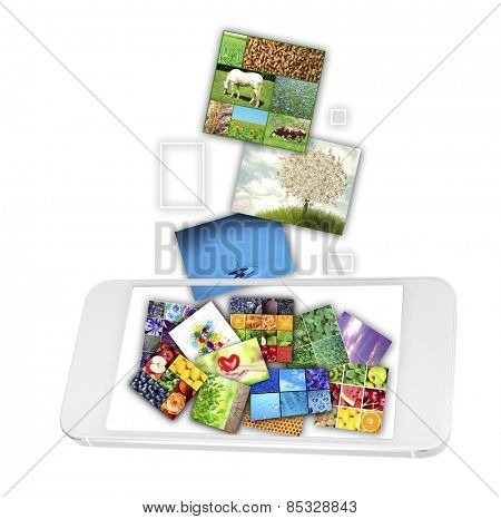 Touch screen mobile phone with streaming images isolated on white