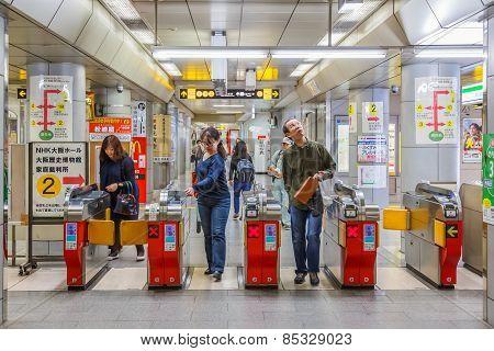 Subway Commuter in Osaka Japan