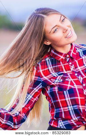 Beautiful girl posing outside, enjoying life concept