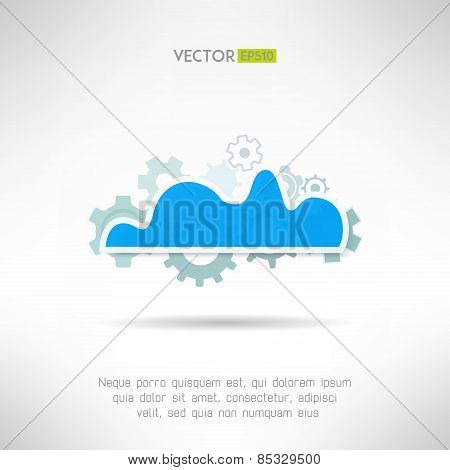 Cloud service icon. Network technology in progress. Remote storage concept. Vector illustration