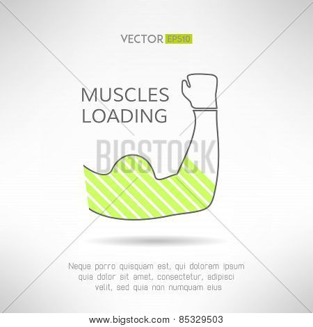 Arm with strong biceps. loading muscles idea. Vector illustration