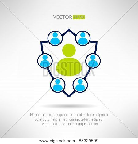 A group of people forming a shield. Man defence concept. Vector illustration