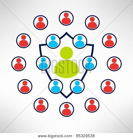 A group of people forming a shield with enemies around. Man defence concept. Vector illustration