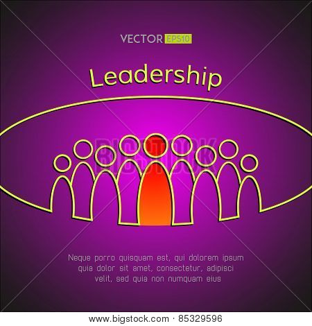 A team of people with a leader. Leadership business concept. Vector illustration