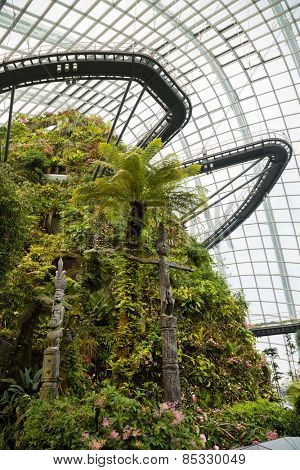 SINGAPORE - JANUARY 27, 2015: The conservatory Cloud Forest is located on the territory Park Gardens by the Bay. Park is intended to become Singapore's premier urban outdoor recreation space.