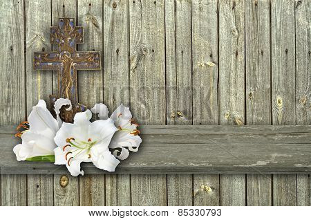 Christian Cross And  Lily On Wood  Background
