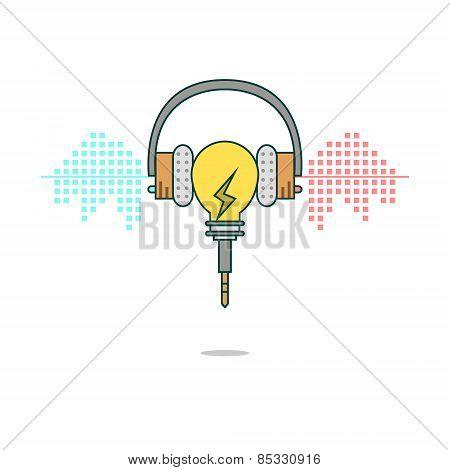 Isolated cartoon light bulb listening music with headphones