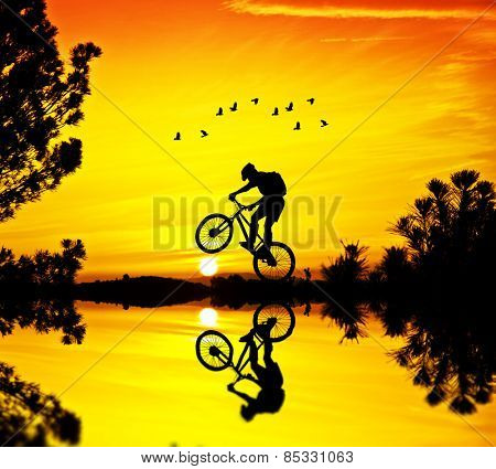 cyclist in nature