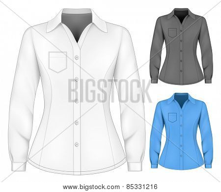 Formal long sleeved blouses for lady. Vector illustration.