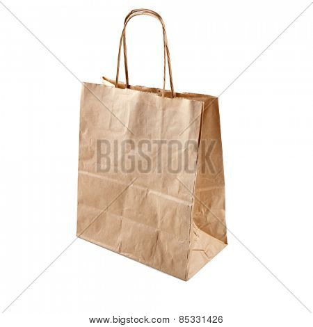 Brown craft  paper bag isolated on a white background. Used recycle paper  bag.
