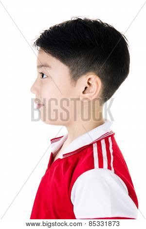Portrait Of Happy Asian Cute Boy In Red Sport Uniform