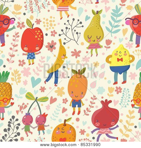 Stunning fruit background in bright summer colors. Tasty concept wallpaper with funny cartoon fruits: pineapple, banana, cherry, orange, pomegranate, lemon, pear, strawberry, apricot, apple in vector