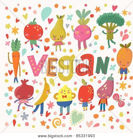 Lovely vegan concept card with sweet fruits and vegetables in vector. Tasty lemon, apple, eggplant, apricot, broccoli, beet, pear, tomato, carrot, pomegranate and banana in funny cartoon style