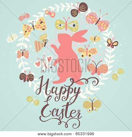 Happy easter card in spring colors. Stylish rabbit with butterflies in floral wreath. Bright floral background in modern style in vector