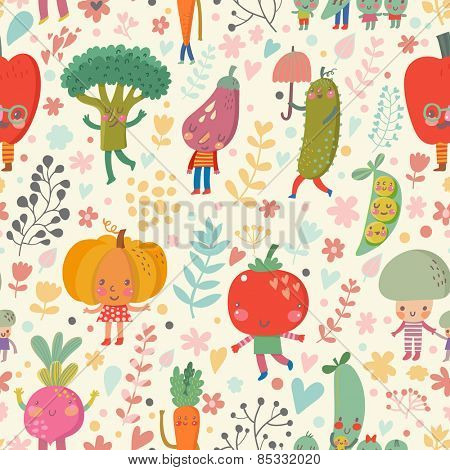 Fabulous vegetable background in bright summer colors. Tasty concept wallpaper with funny cartoon vegetables: tomato, eggplant, peas, beet, cucumber, pumpkin, pepper, mushroom and broccoli in vector