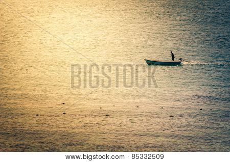 Boat On The Blue Sea Vintage
