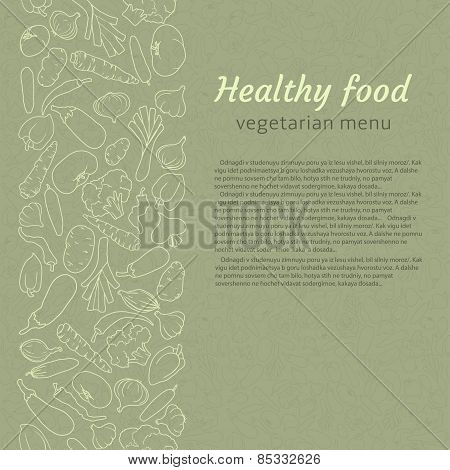 healthy food. vector background for vegetarian menu