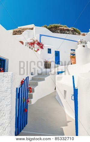 White-blue National Architecture On Santorini Island, Greece.