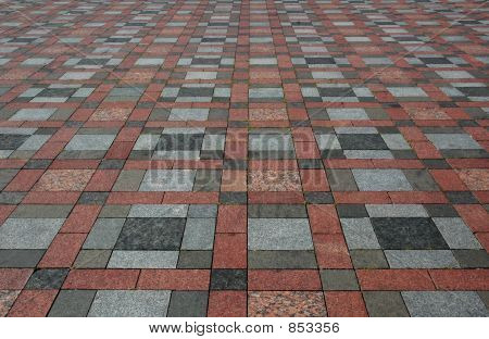 Colourful Stone Tiles On The Floor In Prespective