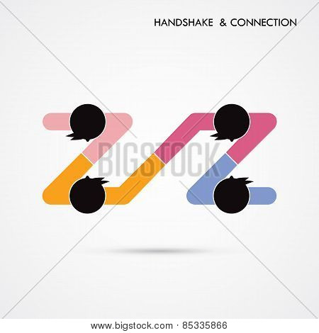 Handshake Abstract Sign Vector Design Template. Business Creative Concept. Deal,cooperation Or Conne