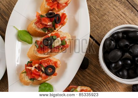 Bruschetta And Olives