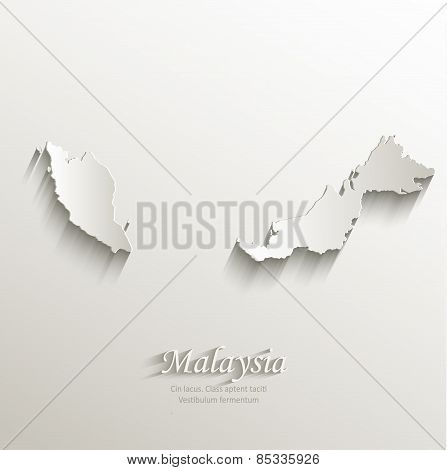 Malaysia map card paper 3D natural vector