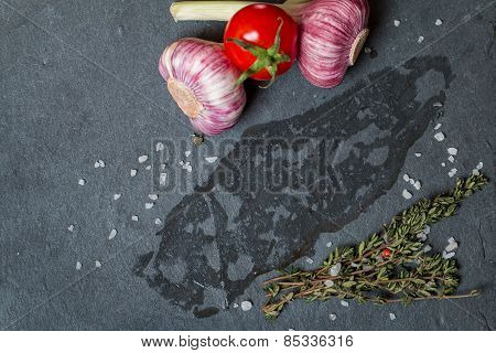 Surface, On Which Lay The Meat With Fresh Herbs And Salt