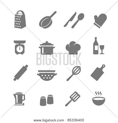 Set of kitchen and cooking icons.