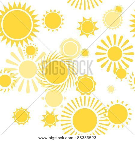 Seamless Pattern with Shiny Bright Yellow Sun vector