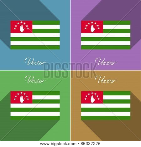 Flags Abkhazia. Set Of Colors Flat Design And Long Shadows. Vector