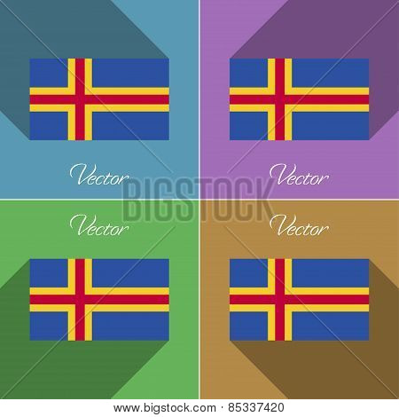 Flags Aland. Set Of Colors Flat Design And Long Shadows. Vector