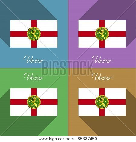 Flags Alderney. Set Of Colors Flat Design And Long Shadows. Vector