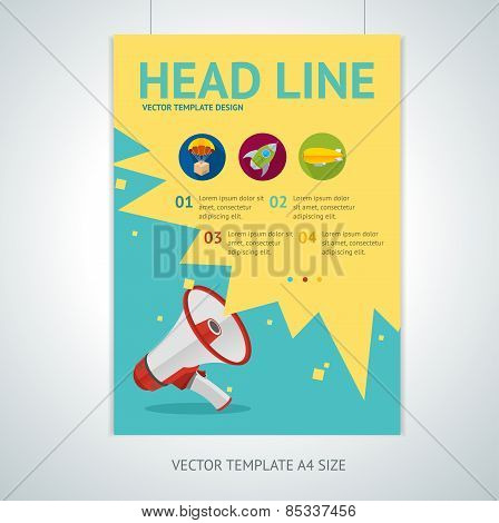 Vector megaphone brochure flyer design templates