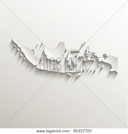 Indonesia map card paper 3D natural raster