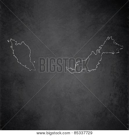 Malaysia map blackboard chalkboard raster