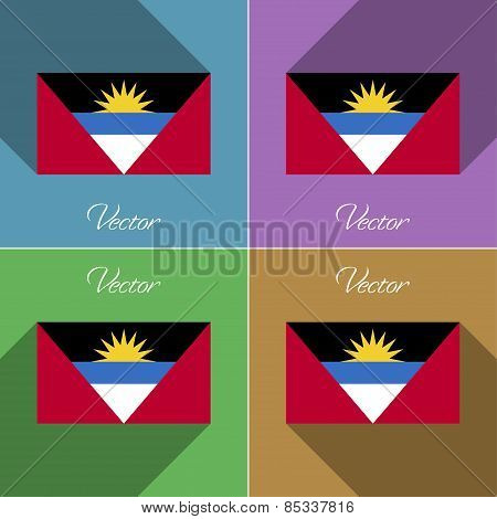 Flags Antigua And Barbuda. Set Of Colors Flat Design Long Shadows. Vector