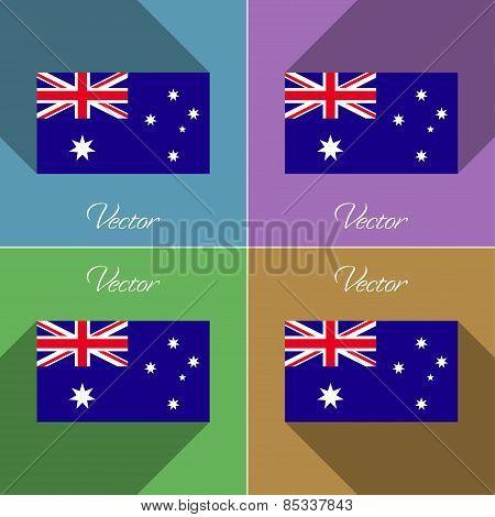 Flags Australia. Set Of Colors Flat Design And Long Shadows. Vector