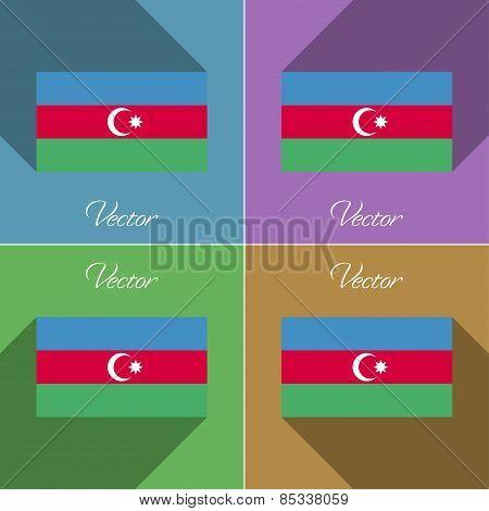 Flags Azerbaijan. Set Of Colors Flat Design And Long Shadows. Vector