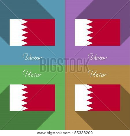 Flags Bahrain. Set Of Colors Flat Design And Long Shadows. Vector