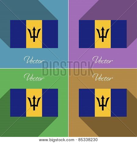 Flags Barbados. Set Of Colors Flat Design And Long Shadows. Vector