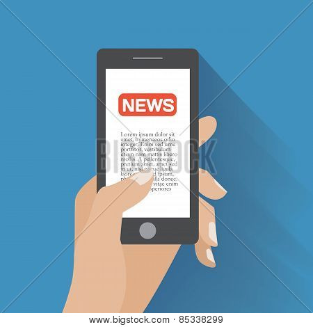 Smartphone with news icon on the screen