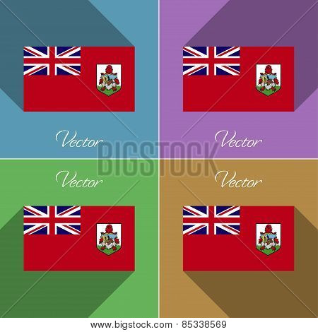 Flags Bermuda. Set Of Colors Flat Design And Long Shadows. Vector