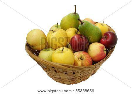 Wicker Basket Full Of Fruits